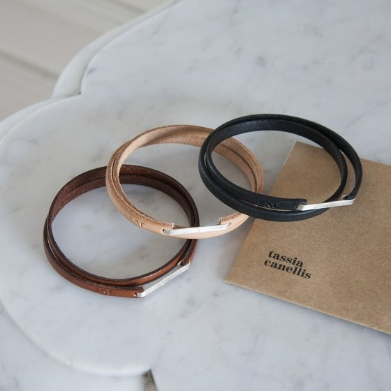 bracelet argent cuir
