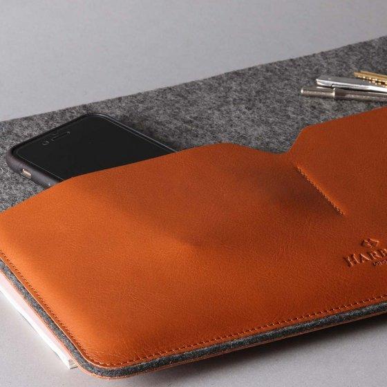 Pochette MacBook en cuir et feutre